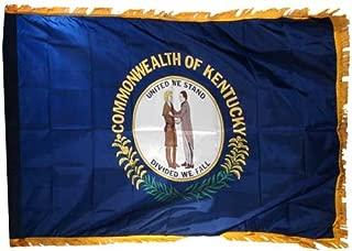 US Flag Store Kentucky State Flag 3x5ft Nylon Flag with Indoor Pole Hem and Fringe