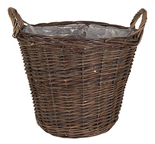 Natural Brown Wicker Round Storage Potato Log Basket with Plastic Liner & Handles