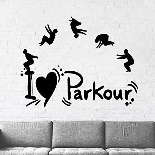 Parkour - Adesivi da parete Parkour Parkour Boys adesivi da parete in vinile rimovibile per la casa dei bambini, 54 x 42 cm