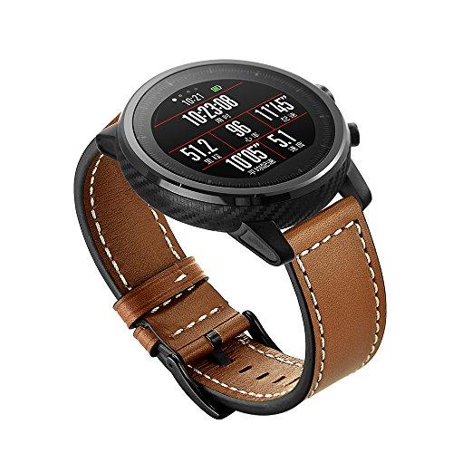 Aimtel Compatible con Amazfit Stratos 2 Banda, 22 mm, Correa de Piel Deportiva Ajustable, Compatible con Amazfit Stratos 2 Watch, Color marrón