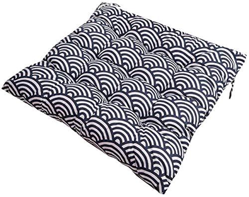 Cojines de silla para sillas de comedor, cojín de asiento y almohadillas con lazos de 40 x 40 cm, cocina de jardín en casa, espuma suave, lavable, H