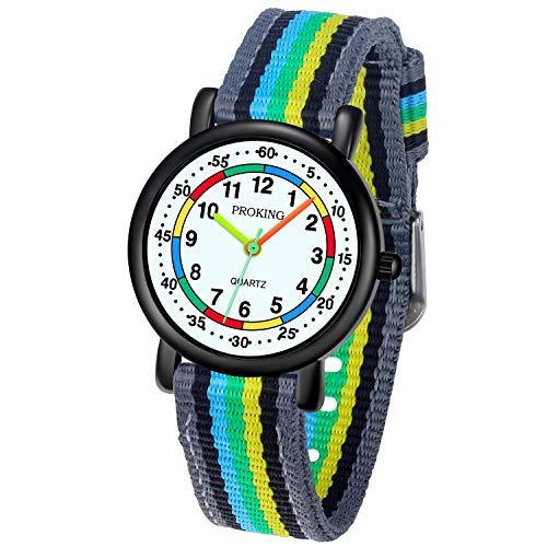 Kinder Analoge Uhr, Leicht zu Lesen Kinder Erste Uhr Täglich Wasserdicht Armbanduhr für Jungen und Mädchen mit Weichem Nylonband Grau