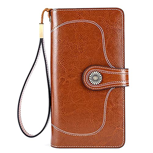 Bolso de mano de cuero para mujer, cartera larga, tarjetero, bolso para teléfono, monedero