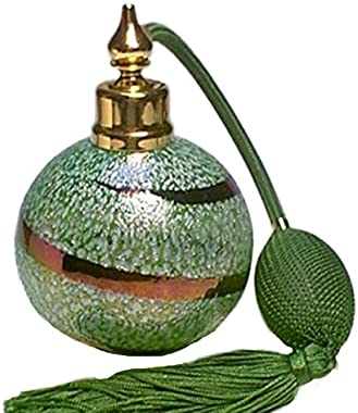 Rosariya Art Hand Made Glass Perfume Cologne Refillable Empty Bottle with Green Bulb Atomizer Sprayer