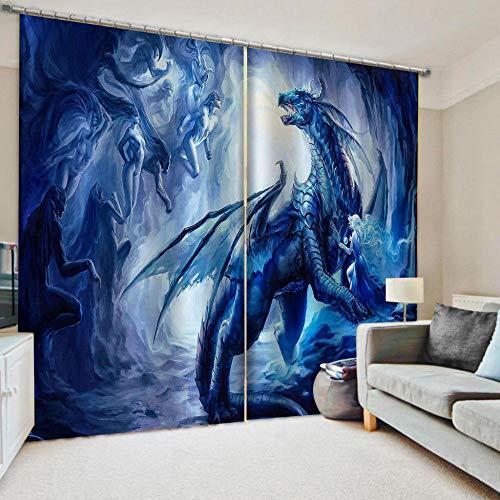 Hanzeze verduisteringsgordijnen vliegende draak geïsoleerde ruisonderdrukkende haak gordijnen slaapkamer super zachte gordijnen kamer donker worden & energiebesparing voor slaapkamer keuken