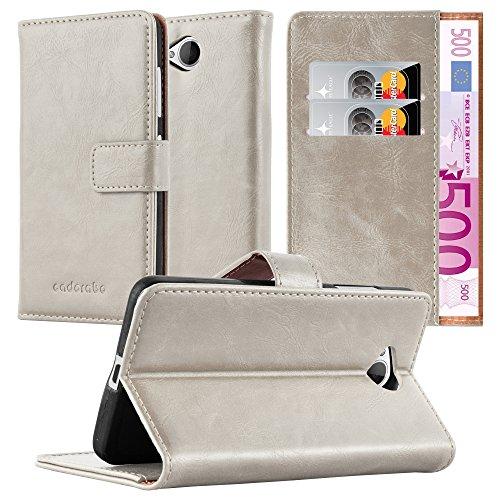 Cadorabo Hülle für Nokia Lumia 650 - Hülle in Cappucino BRAUN – Handyhülle im Luxury Design mit Kartenfach & Standfunktion - Hülle Cover Schutzhülle Etui Tasche Book