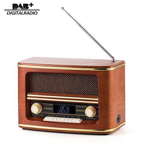 SHUMAN DAB +/ FM-Digitalradio,LED-Digitaluhr mit Zwei Weckeinstellungen, Sleep-Funktion, mit Bluetooth-Wiedergabe / 3,5-mm-Buchse, Schlafzimmer / Büro (MC266)