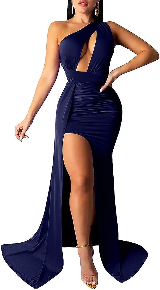 LAGSHIAN Women Sexy Elegant One Shoulder High Split Cutout Long Evening Dress