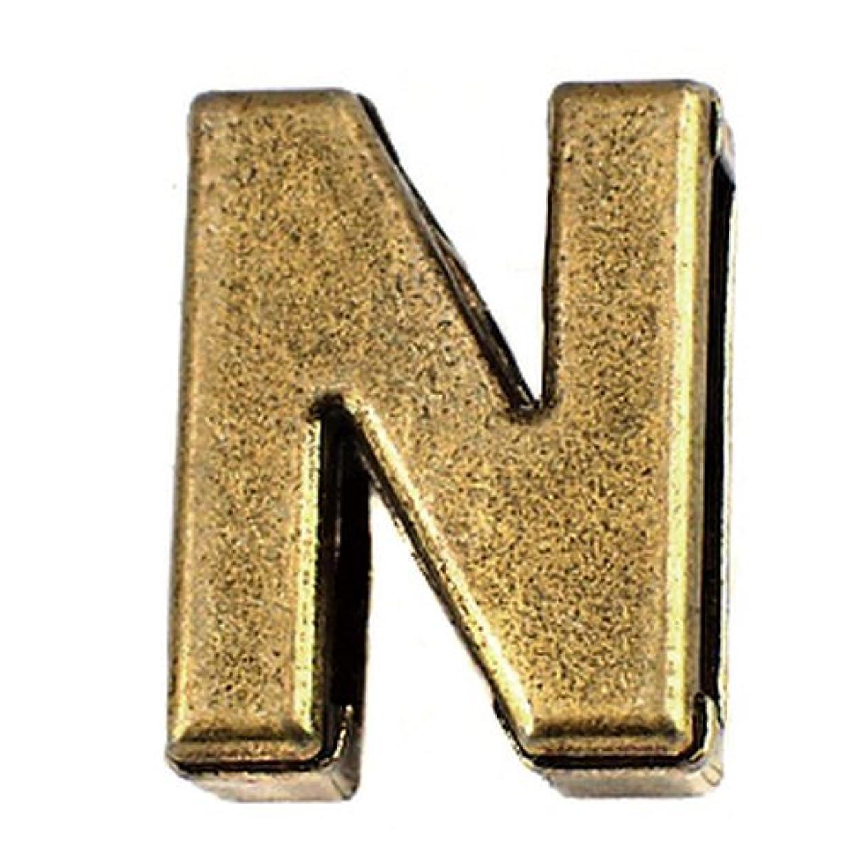 永遠の特別なパワー限定 ピンバッジ アルファベット「N」アンティーク真鍮色 ピンズ ブロック体 ブロンズ色 ピンバッチ
