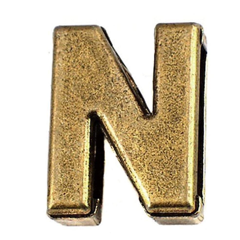とまり木ゴシップペチコート限定 ピンバッジ アルファベット「N」アンティーク真鍮色 ピンズ ブロック体 ブロンズ色 ピンバッチ