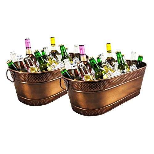 BREKX Set of 2 Colt Copper Finish Galvanized Hammered Beverage Tub for Home Parties, Wedding Gifts, Events, Etc