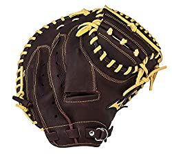 powerful Mizuno Franchise Baseball Catcher Mitt, Coffee / Silver, 33.5 inch Left Throw
