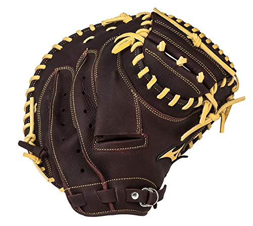 Mizuno Franchise Baseball Catcher's Mitt, Coffee/Silver, 33.5-Inch, Left Hand Throw