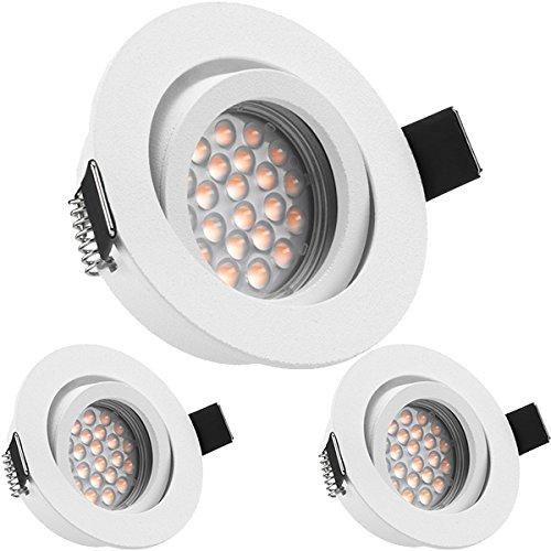 3er LED Einbaustrahler Set Weiß matt mit LED GU10 Markenstrahler von LEDANDO - 5W DIMMBAR - warmweiss - 60° Abstrahlwinkel - schwenkbar - 50W Ersatz - A+ - LED Spot 5 Watt - Einbauleuchte LED rund