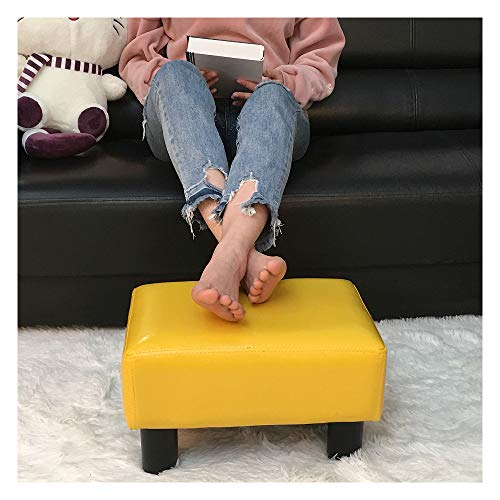 Small Foot Rest Stool Rectangle Modern PU Faux Leather Ottoman Padded Seat Footrest Footstool in Red