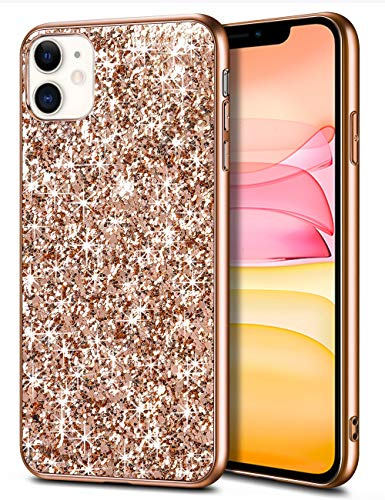 Wollony Case for iPhone 11 Case Glitter Sparkle Bling Shiny Phone Case for Girl Ultra Slim Durable Hybrid TPU Shockproof Bumper Hard Anti-Slip Back Protective Cover for iPhone 11 6.1inch Rose Gold