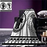 Blanket Toga Party Throw Blanket Roman Aristocrat Perfiles De Mujer Circular Marcos Clásicos Peinado Belleza Negro Blanco Sala De Estar 102X127Cm Manta De Vellón Cálido Todas Las