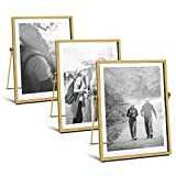 AceList Metal Picture Frames, Set of 3 Ornate Minimal Floating Edge Clear Glass Table Top Easel Stand Photo Frames in Gold, 5 x 7, Assortment Variety