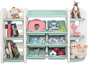 JOYMOR Kids Toy Storage Shelves with Organizer & Bookshelf & Corner Rack & 6 Green Plastic Bins, Toddler's Shelf Drawer for Child's Bedroom Playroom