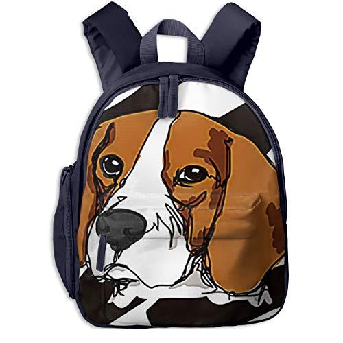 Mochilas Infantiles, Bolsa Mochila Niño Mochila Bebe Guarderia Mochila Escolar con Animal Face Draw Beagle para Niños De 3 A 6 Años De Edad