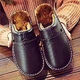 Qitao Zapatillas para Hombre Zapatillas para el hogar para Invierno Zapatillas de Felpa cálida Mujer Dormitorio Cuero Genuino Unisex Hombre casa Zapatos Interior tamaño Grande 11