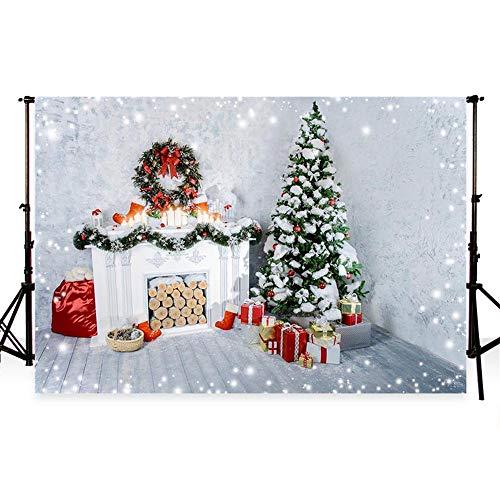 WaW 7x5ft Navidad árboles Foto Fondo Interior Sala Chimenea fotografía Fondo Navidad Festival Foto temática...