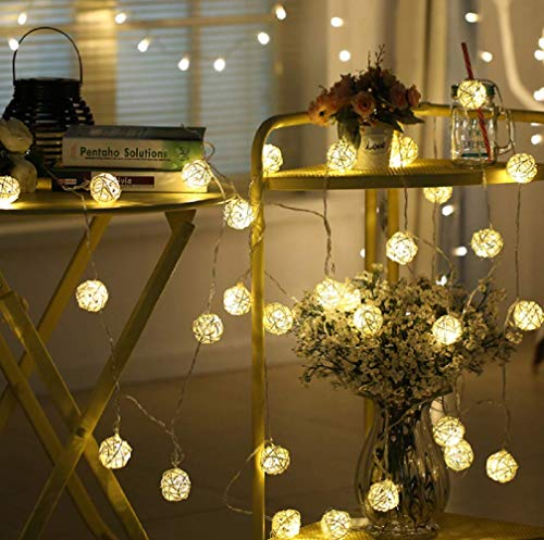 Battery Operated Hand Crafted Rattan Ball Portal Fairy LEDs Starry String Lights Strips Warm White Decoration for Home Outdoor Garden Camping Party Wedding Festival by Hausger