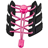 No Tie Shoelaces, Reflective Elastic Lock Shoe Laces by iLiveX, One Size Fits All Adult and Kids Shoes (Pink)