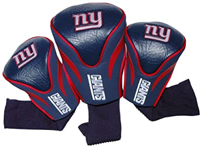 Team Golf NFL New York Giants Contour Golf Club Headcovers (3 Count), Numbered 1, 3, & X, Fits Oversized Drivers, Utility, Rescue & Fairway Clubs, Velour lined for Extra Club Protection