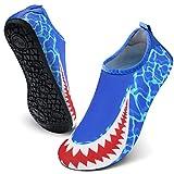 FEETCITY Mens Water Shoes Womens Swim Shoes Footwear Aqua Shoes Swim Shoe for YOG Shark Blue L(W:9.5-10.5,M:8.5-9)