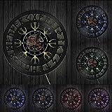 Decoración del hogar Misterioso nórdico Magick Viking Brújula Reloj de Pared Talismán nórdico Aegishjalmr Helm of Awe Símbolo de protección Reloj de Disco de Vinilo
