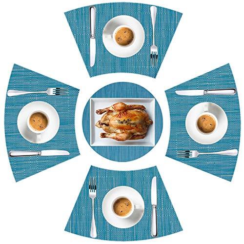 LYPER Tischsets für runden Tisch 5er-Set, Dekorative Tischsets mit Keilverzierung und Hitzebeständigen, Rutschfesten Vinylmatten aus Gewebtem Vinyl...
