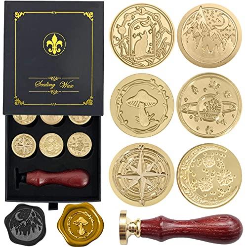 Juego de 6 sellos de cera, sellos de cobre, 1 mango de madera, kit de sellos de cera para sobres de tarjetas, embalaje de regalo (serie Vasto Universo)