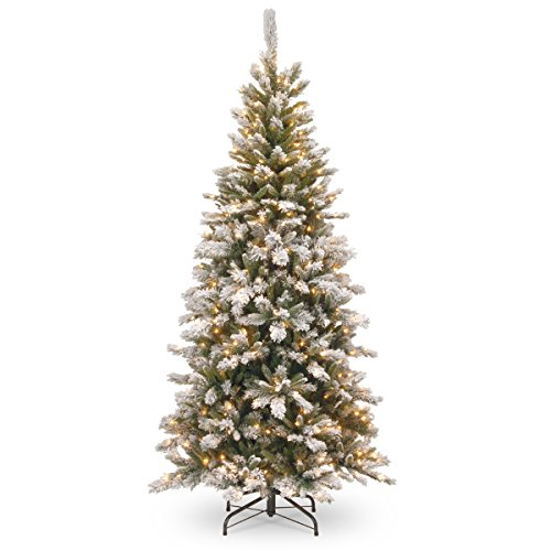 National Tree Company lit Artificial Christmas Tree | Includes Pre-Strung White Lights and Stand | Snowy Mountain Pine Slim-7.5 ft