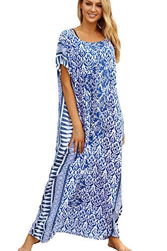 L-Peach Kaftan Vestido Largo de Playa Mujer, Azul, Talla única