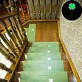 Eastery Stufenmatten Innen Vier Blätter Muster rutschfeste Treppe Pads Leuchtende Selbstklebende Einfacher Stil Teppichunterlage Stufenmatte (21,65 X8.66 X1.77) (Beige) (Color : Grün, Size : Size)