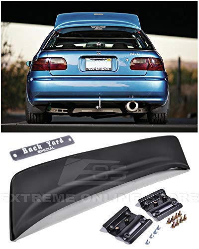 Extreme Online Store for 1992-1995 Honda Civic 3Dr Hatchback BYS Style ABS Plastic Rear Roof Wing Spoiler Lip with BYS Silver Chrome Emblem 3dr Hatchback Oem Replacement