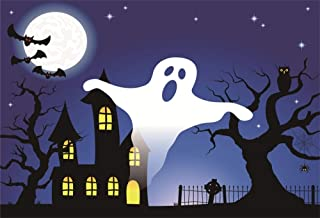 AOFOTO 10x8ft White Ghost Full Moon Night Halloween Photo Booth Backdrop Flying Bats Owl Stand on Bare Tree Cemetery House Photography Background Cloth Vinyl Wallpaper Photo Studio Props