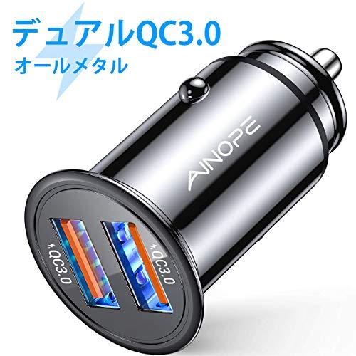 AINOPE シガーソケットusb, [デュアルQC3.0ポート] 36W/6A 超小型 [すべての金属] 高速車の充電器 車usb シガーソケット usb 急速充電 に iPhone 11 Pro Max/XR/X, iPad Air 2/Mini, Note 10 9/Galaxy S10/S9/S8, IQOS/glo 対応 – ブラック