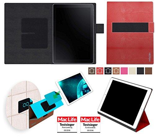 reboon Hülle für Samsung Galaxy Book 10.6 (LTE) Tasche Cover Hülle Bumper   in Rot Leder   Testsieger