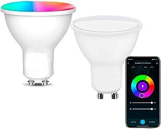 Bombilla inteligente led GU10, WIFI compatible Amazon Alexa,Google Home, Si Smart Bombilla Gu10 RGB wifi, regulable Multicolor, luces fría a cálidas, App Smart Life & Tuya Smart