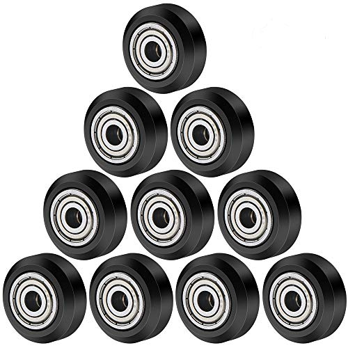 TUZUK Equipment Big Plastic Pulley Wheel with Bearings Passive Round Wheel Idler Pulley Gear Perlin Wheel for Ender 3, CR-10, CR-10S (Pack of 10 pcs) (Big Wheel)