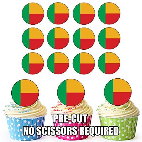 Benin Flagge – 24 essbare Cupcake-Dekorationen – einfache vorgeschnittene Kreise