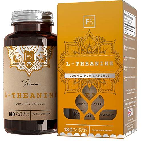 FS Reines L-Theanin [300mg], ohne Füllstoffe und Bindemittel | 180 Vegane Kapseln | Beruhigendes Nootropikum, Entspannendes Nahrungsergänzungsmittel | Ohne Zusätze — Frei von GVO, Gluten & Milch