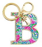 Lilly Pulitzer Leatherette Initial Keychain, Letter Bag Charm for Women, Bunny Business (B)