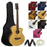 tiger chitarra elettroacustica pacchetto per principianti con sintonizzatore integrato e eq, naturale