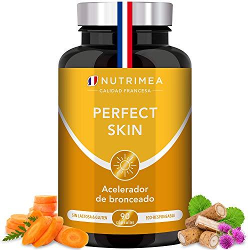 Betacaroteno Natural Acelerador Bronceado Corporal y Facial Protección Solar Antioxidante | Vitamina A y E Cobre Bardana Licopeno | 90 Cápsulas Vegetales Apto para Veganos Fabricado en Francia