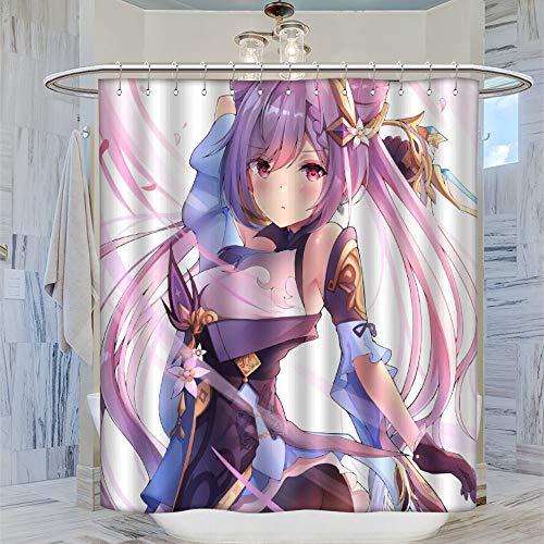 Moderno accesorio de baño Genshin Impact Games Keqing cortina de ducha de 183 x 183 cm