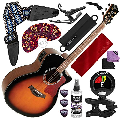 Tagima America Series California-T Acoustic Electric Guitar, Sunburst with Capo, Strap, Massaging Strap Attachment and Deluxe Accessory Bundle