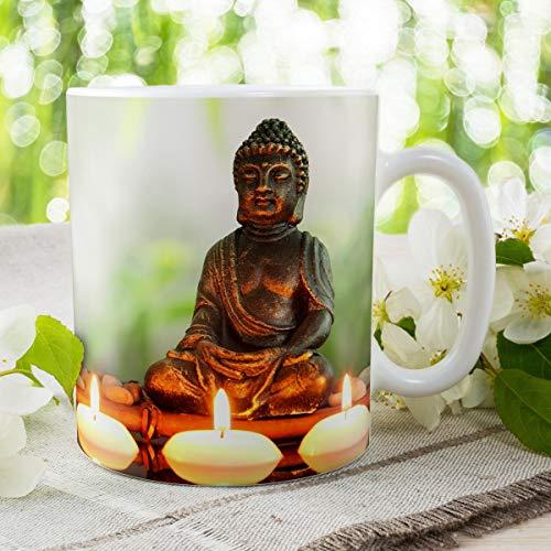 Geschenk Tasse Buddha lustig mit Spruch Problemlösung Geburtstagsgeschenk für Arbeit Büro Wellness Entspannung Frauen Freundin Kollegin